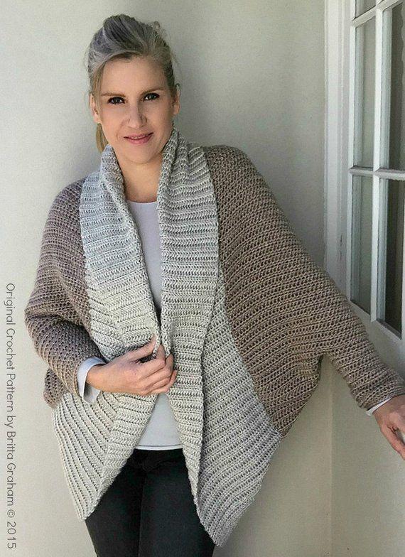 b35c74ddeccc20 Crochet Shrug Pattern - Oversized Sweater Cardigan Crochet Pattern in One  Size No.922 Digital Patter