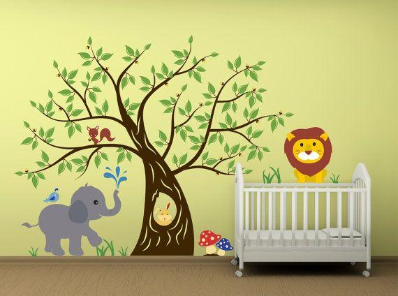 Children Wall Decals Tree Sticker Tree Decal Woodland by Zapoart, $184.00