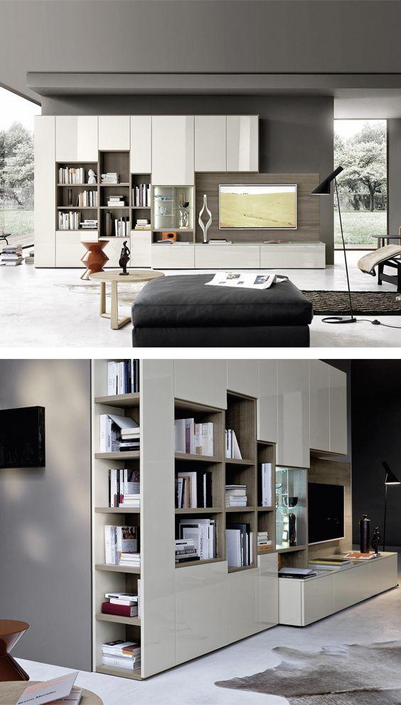 livitalia wohnwand mit b cherregal c64 wohnzimmerm bel. Black Bedroom Furniture Sets. Home Design Ideas