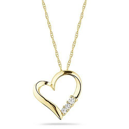 $52.99 A polished open heart shape supports a display of three colorful stones, to create this classic accessory design. Choose from sterling silver, white, yellow or rose gold, supporting rounded blue sapphire, pink sapphire, black or white diamond stones.