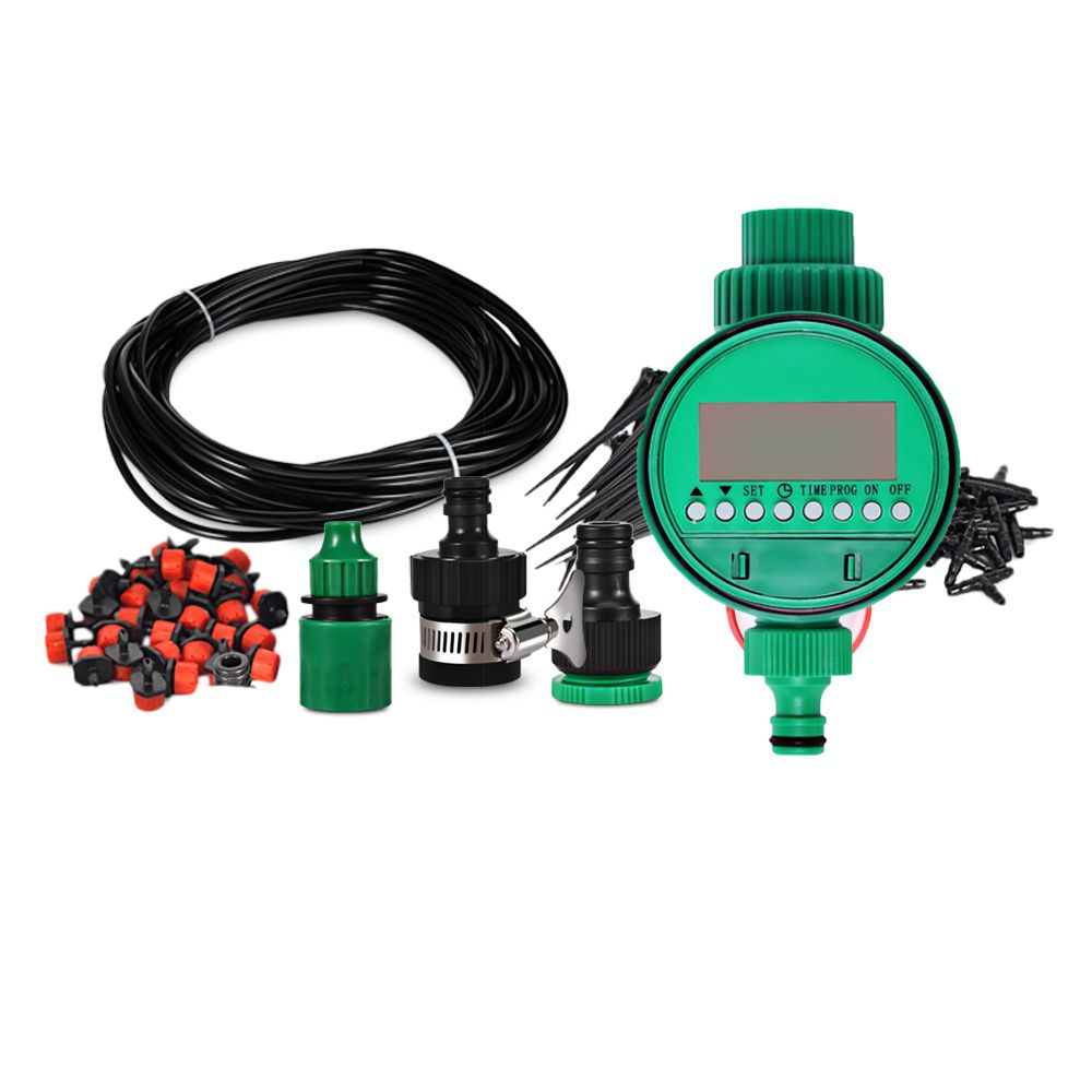 18m DIY Micro Drip Irrigation System Plant Self Automatic Watering Timer  Garden Hose Kits With Adjustable