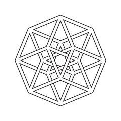 Vector: Hypercube, tesseract, geometric symbol, line