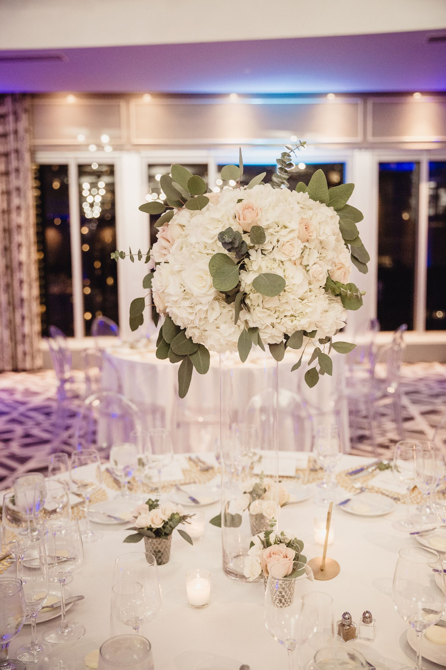 Tall Hydrangea And Roses Table Arrangement With Eucalyptus Blush And