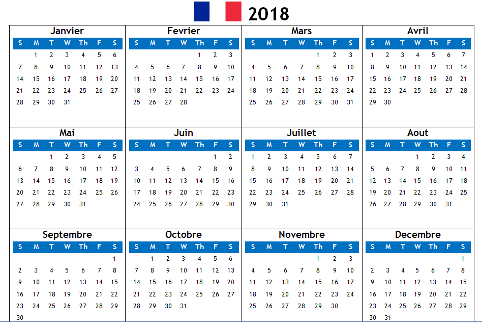 2018 french pdf calendar printable