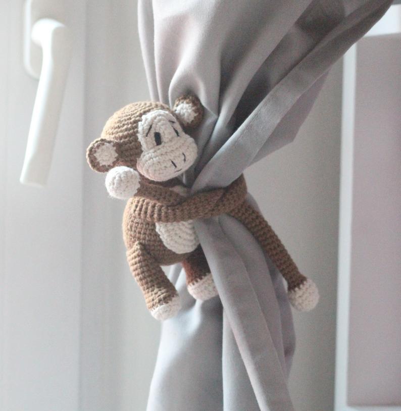 Brown Monkey Curtain Tie back Crochet Monkey Curtain Tieback | Etsy | 814x794