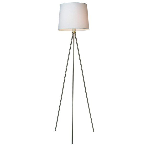 Newhouse Lighting Alexandria Contemporary Tripod Floor Lamp With White Lamp Shade & E26 Light Socket - Free LED Bulb Included