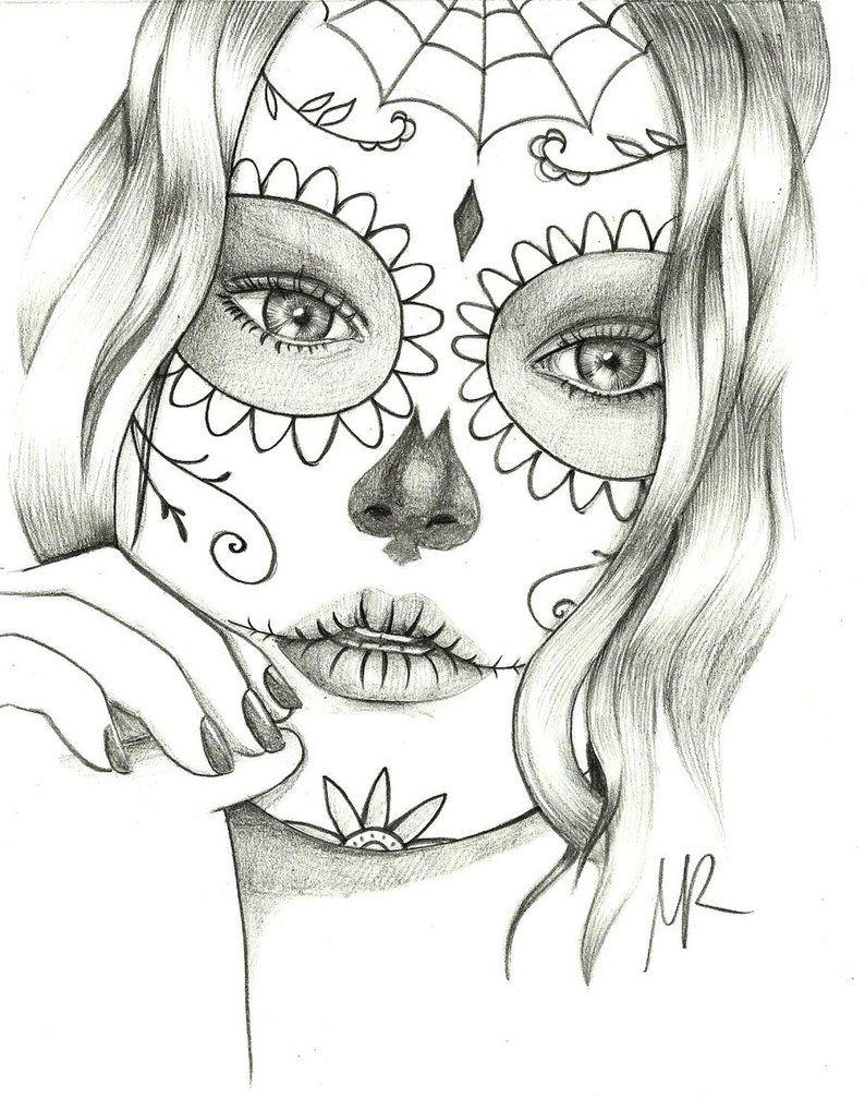sugar skull drawings sugar skull mexican by morenaink on