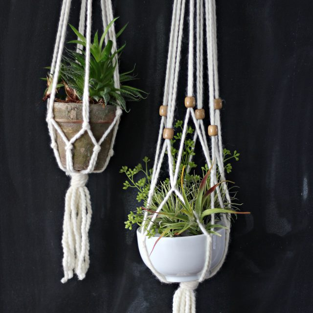 How to Make a Simple Macrame Plant Hanger is part of Diy macrame plant hanger, Diy macrame plant hanger easy, Macrame plant hanger, Macrame plant hangers, Diy plant hanger, Macrame plant - By using basic supplies from the hardware store, you can make this easy macrame hanger to display your favorite houseplant