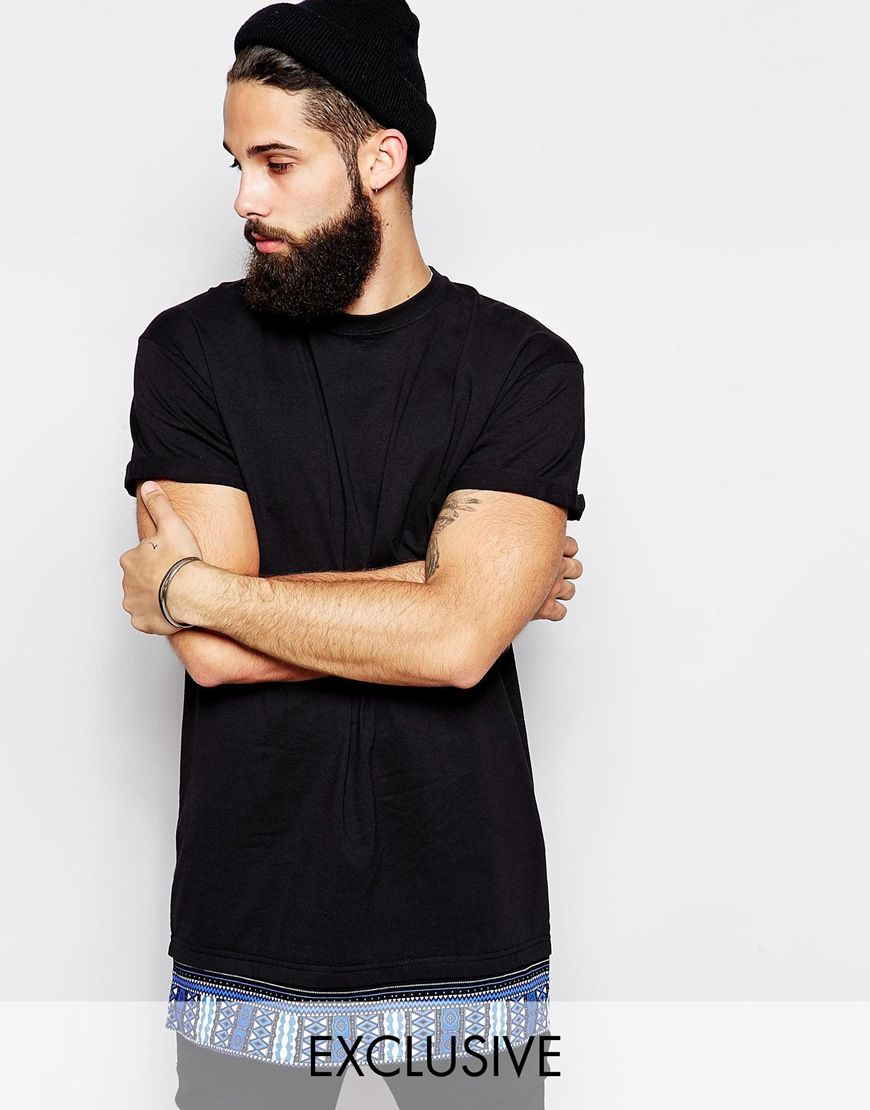 Reclaimed Vintage Longline T-Shirt with Tribal Print