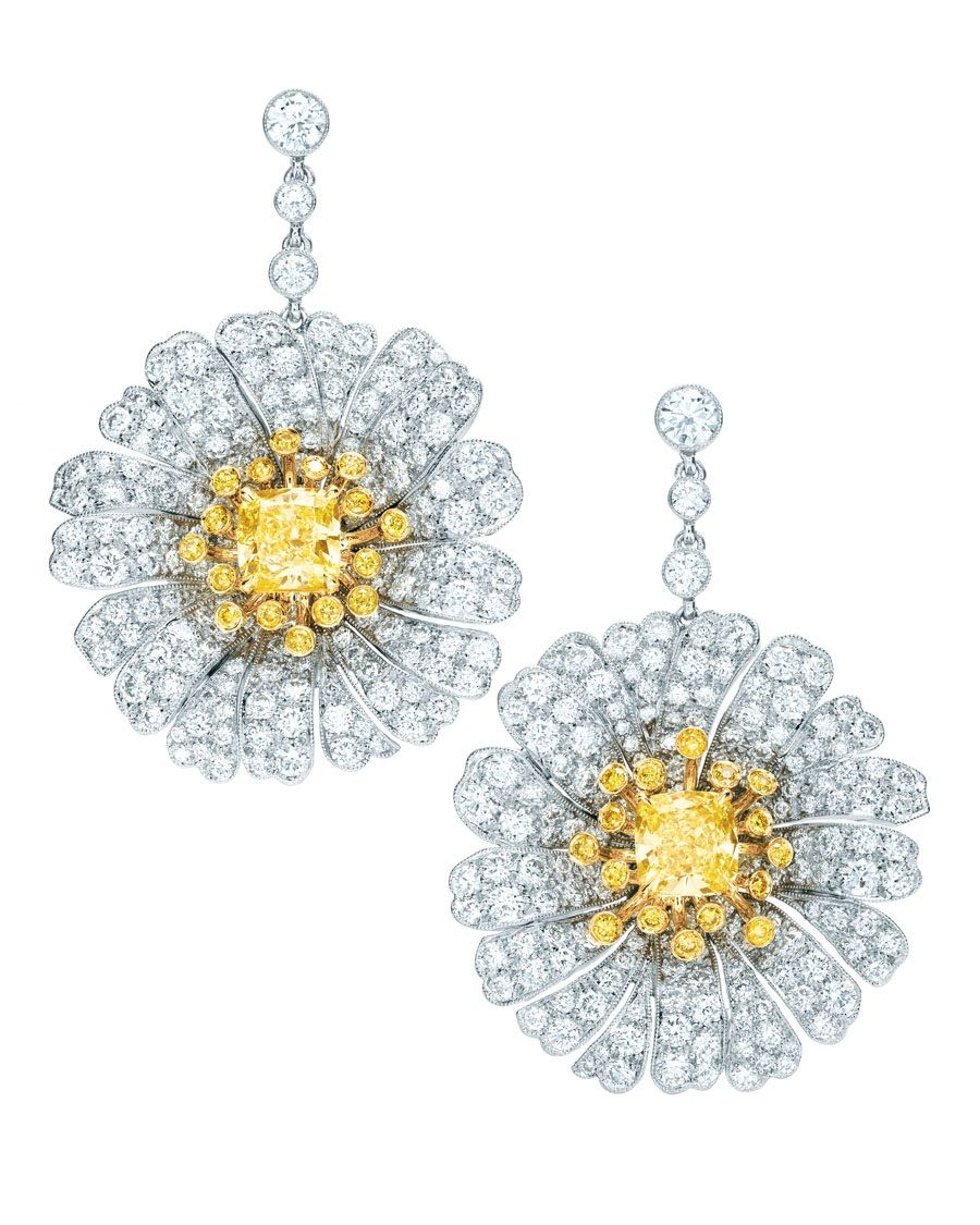 Tiffany Co Daisy Drop Earrings With Yellow Diamonds And White Diamond Petals In Platinum