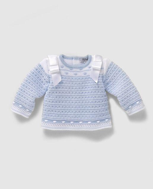 Jersey de bebé niño en azul con bodoques | Proyectos que debo ...