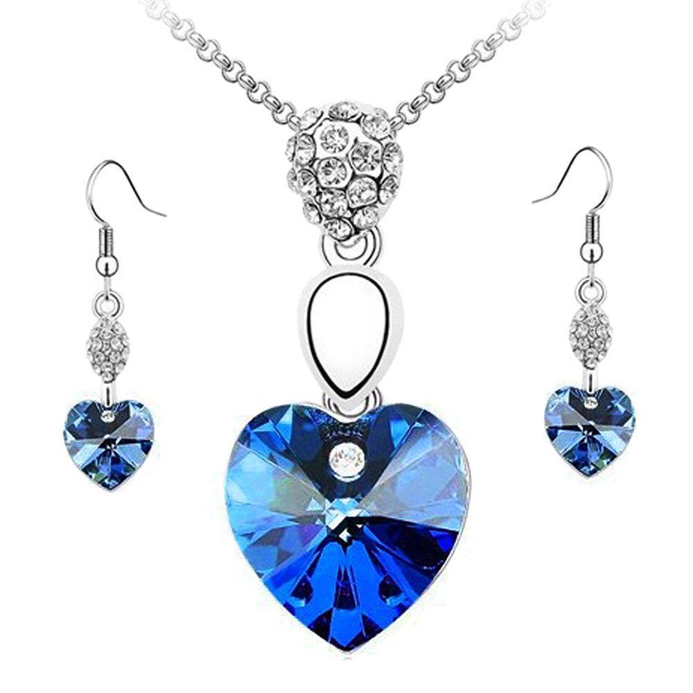 new womenus fashion jewery set crystal hearts water drops