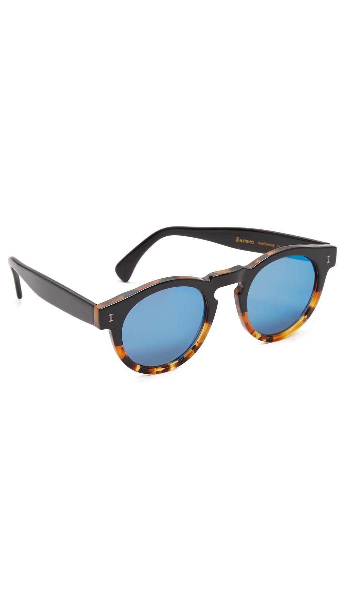 383b3c3d37d ILLESTEVA Leonard Half   Half Mirrored Sunglasses.  illesteva  sunglasses