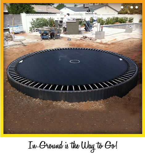 In Ground Trampoline Kits You Dig The Hole And They Send You A Steel Retaining Wall And Trampoline Bodentrampolin Trampolin Hinterhof Spielplatz