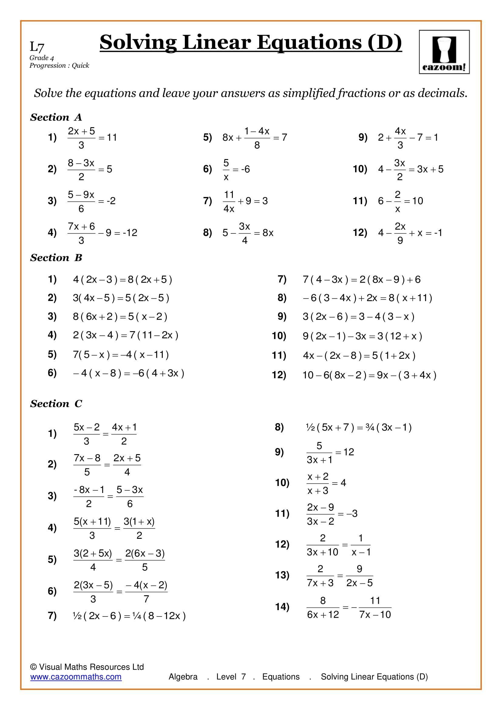 Solving Algebraic Fractions Worksheet