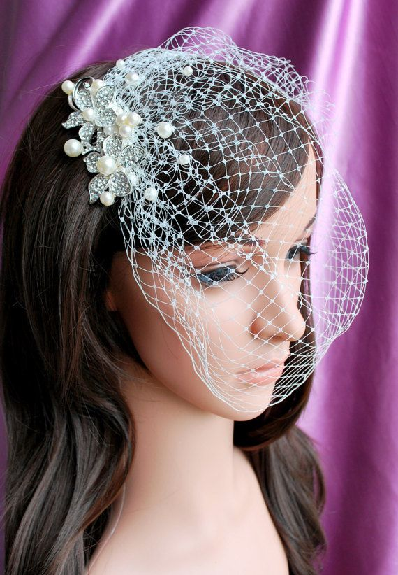 93a67cdc02 Ivory Pearl Birdcage French tulle veil by MagnificenceBridal Tela De Malla