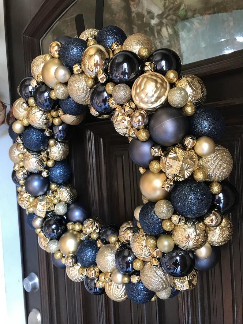 Gorgeous Navy and Gold Ornament Christmas Wreath Bauble | Etsy
