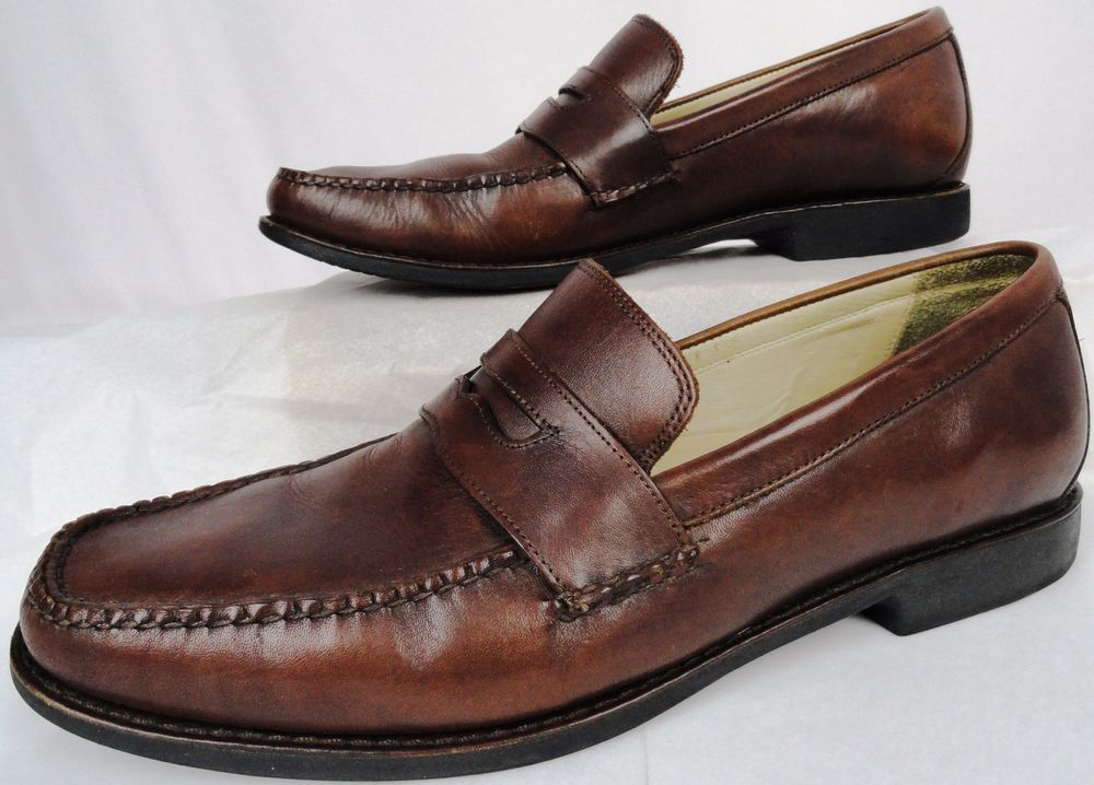 JOHNSTON & MURPHY Men's 10 - BROWN SHEEPSKIN LEATHER PENNY LOAFERS Slip On Shoes