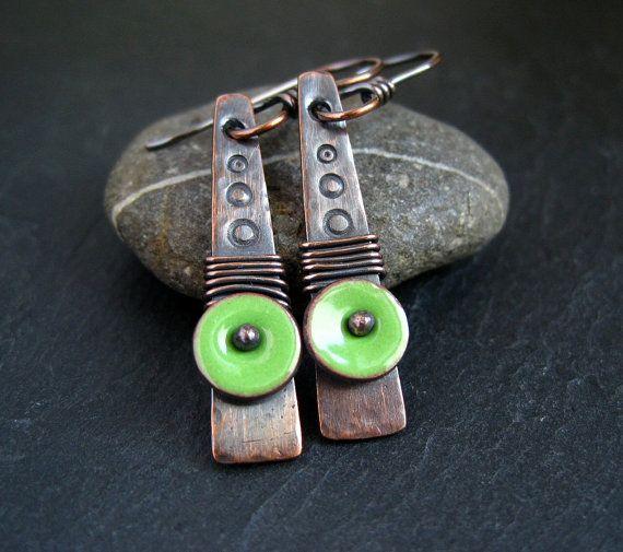 Copper Enamel Earrings copper earrings with by CinnamonJewellery, £18.00