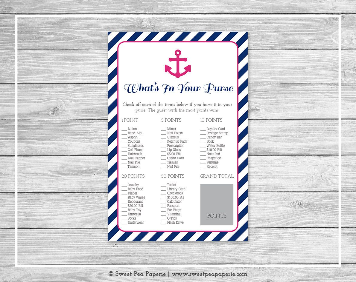 Nautical Baby Shower What S In Your Purse Game