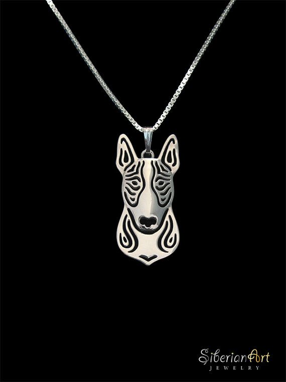 also available in gold or rose gold Chain with pendant bull terrier 925 silver