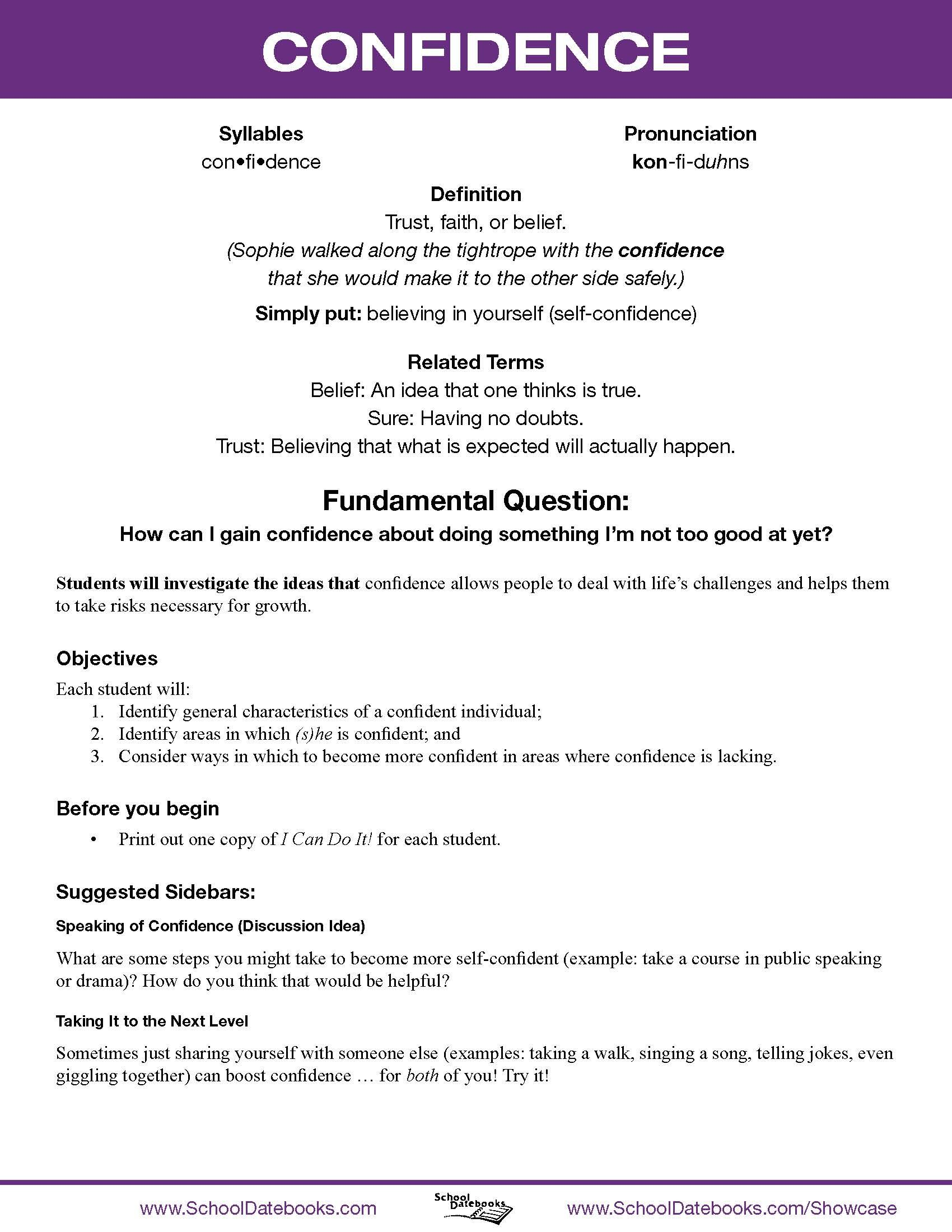 Character Trait Worksheet High School