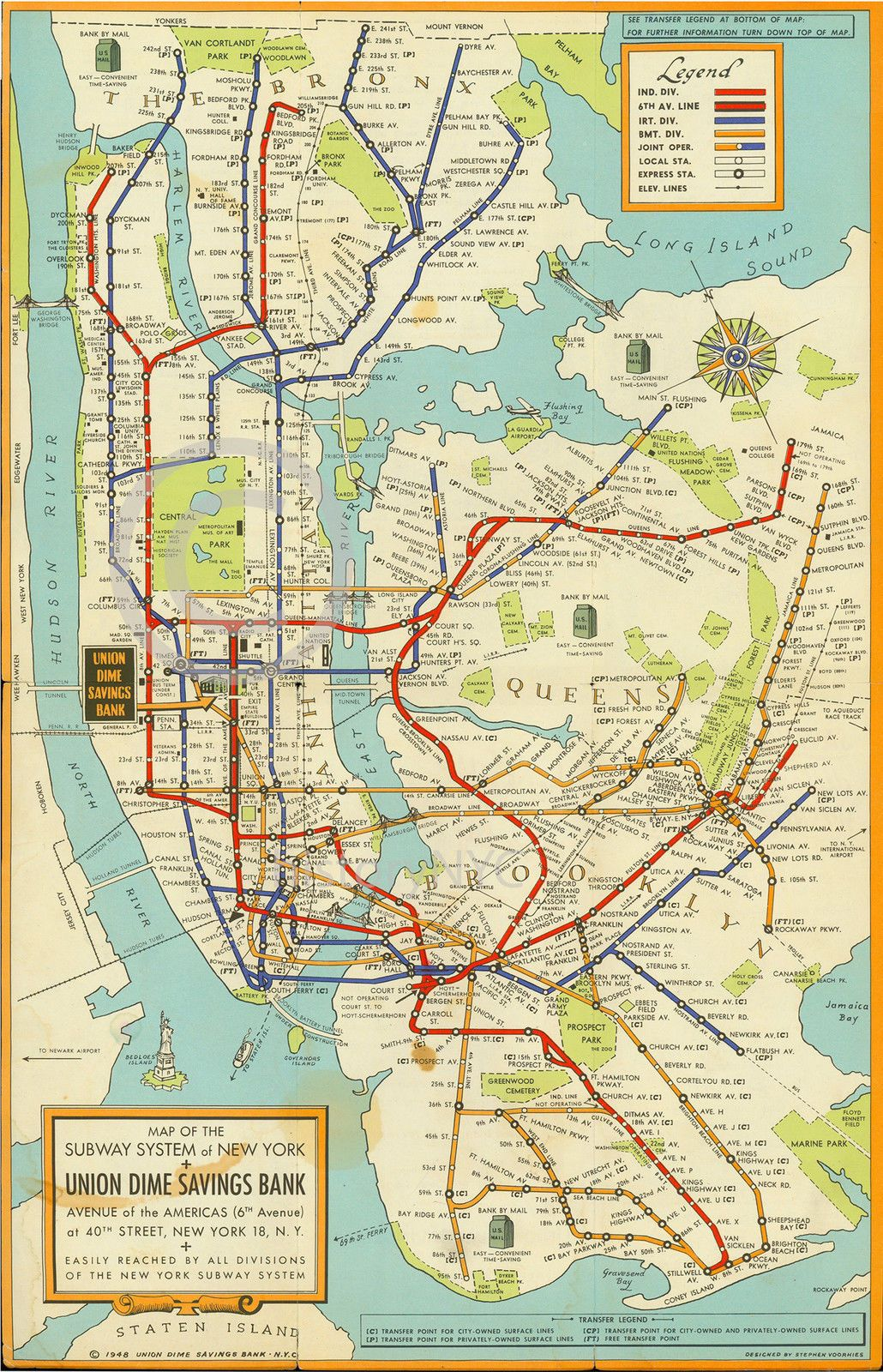 1948 Large New York City Subway Map Mta Manhattan Brooklyn Art Deco