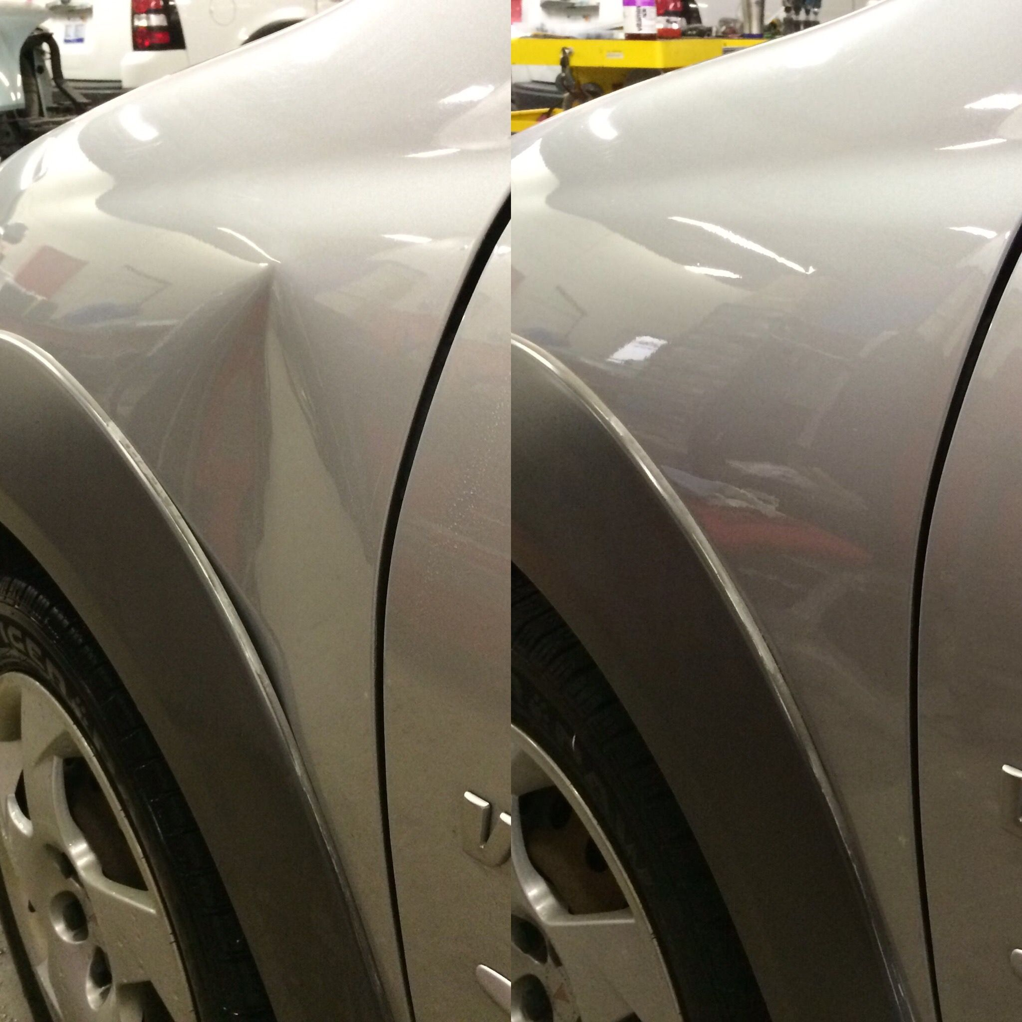 Most Body Shops Would Replace This Fender And Paint A New One Which Would Then Require Blend Refinishing The Hood And Door F Mustang Cars The Body Shop Repair