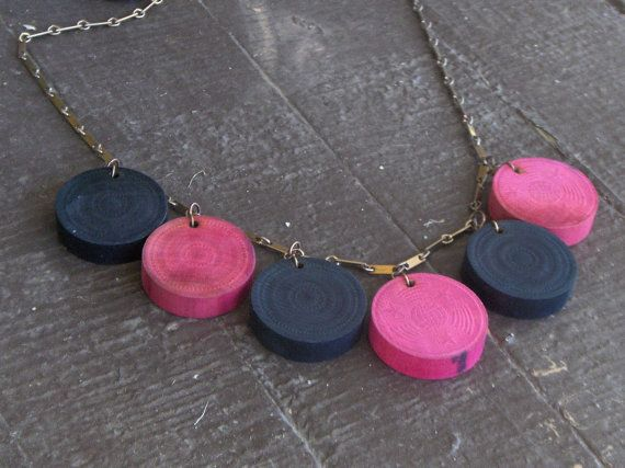 Plaything Necklace- Checkers. Vintage wooden checkers upcycled game pieces necklace