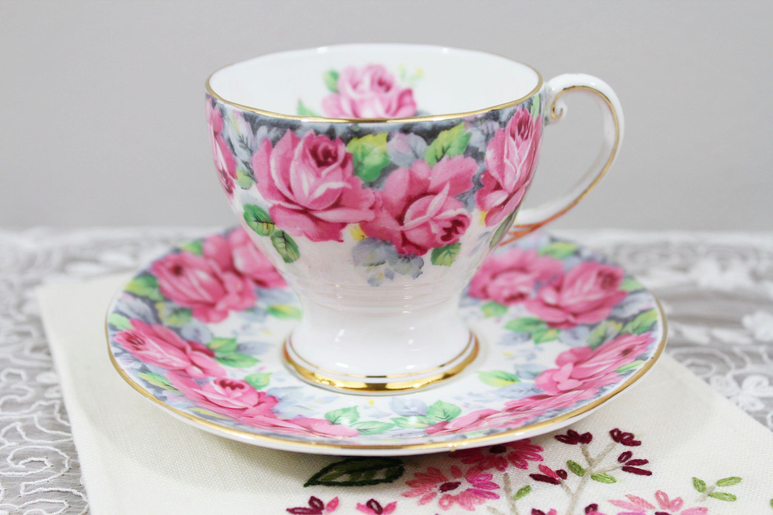 Vintage Royal Standard \'Rose of Sharon\' Pink Rose Floral Demitasse ...