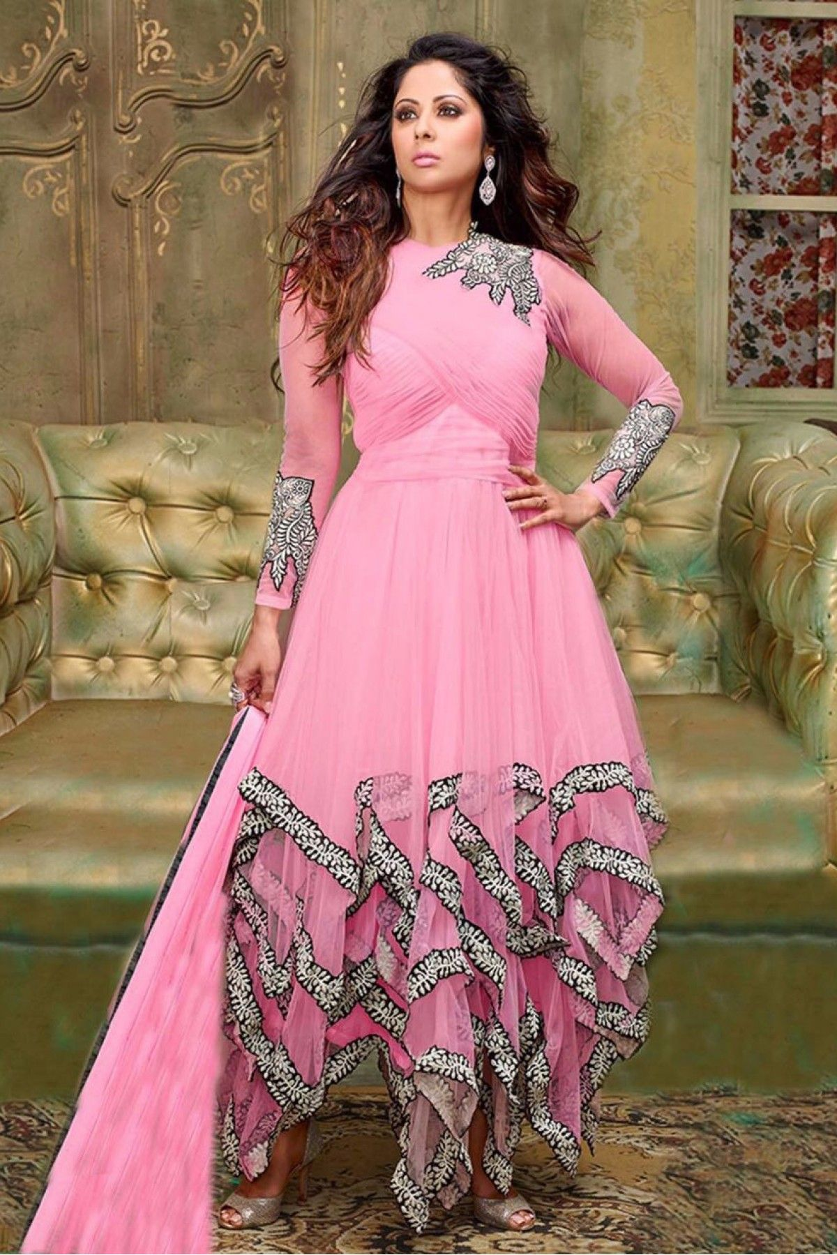bd7e320cb5a Georgette Party Wear Anarkali Suit in Pink Colour.It comes with matching  Dupatta and Bottom.It is crfated with Embroidery