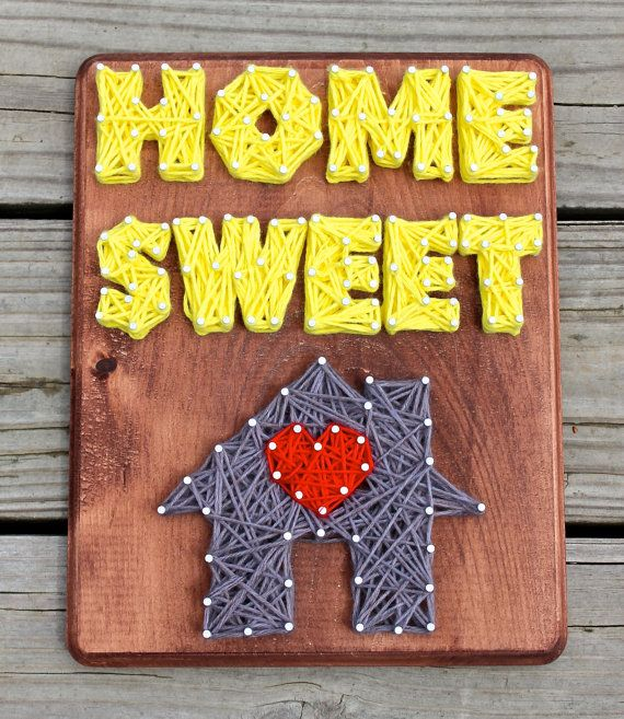 Home Sweet Home Nail & String Art Wall Decor by EclecticGreetings ...