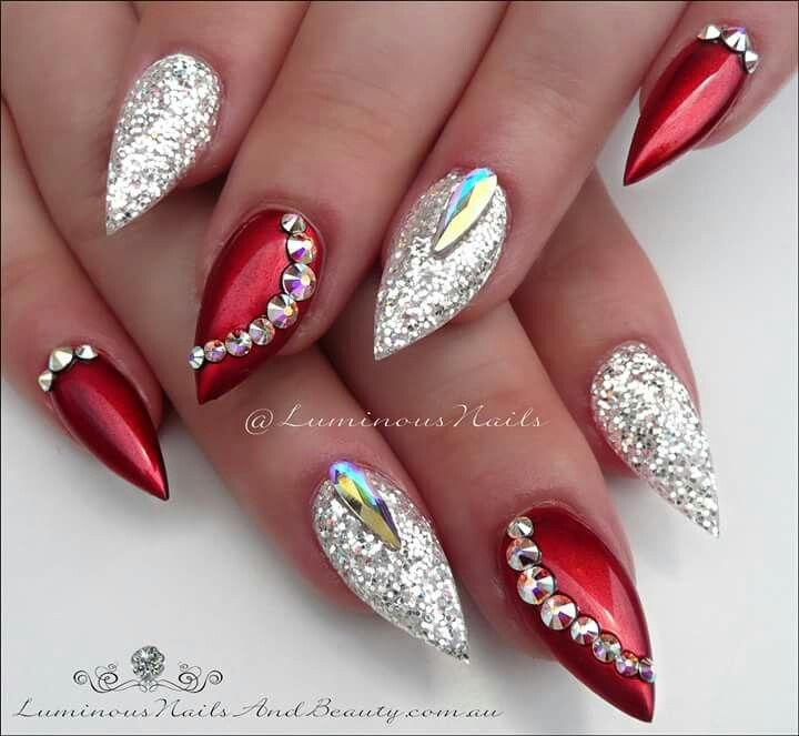 Christmas Nails Green And Red: Red And Silver Nails, Red And Gold Nails, Red