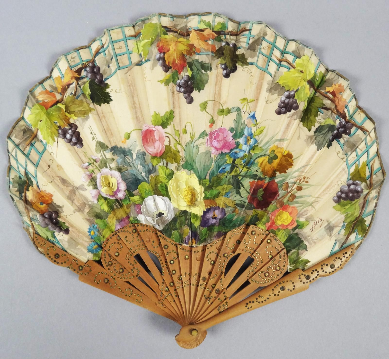 19c Victorian French Carved Wooden Hand Painted Silk Floral Hand Fan