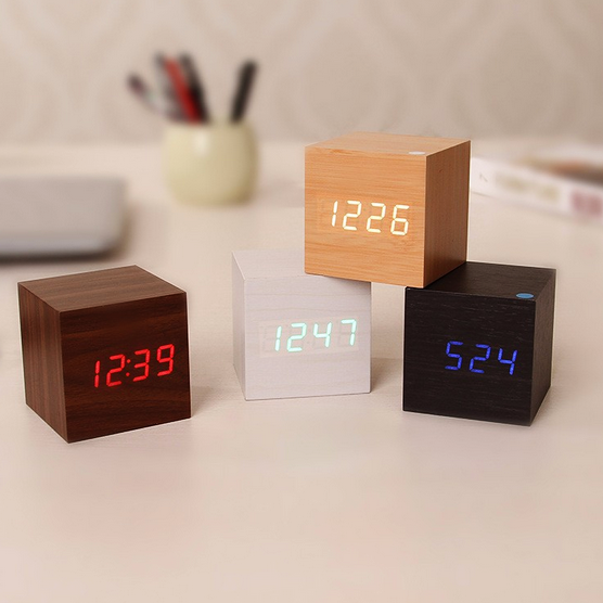 Modern Digital Wood Clock In 2020 Wood Clocks Alarm Clock Led Alarm Clock