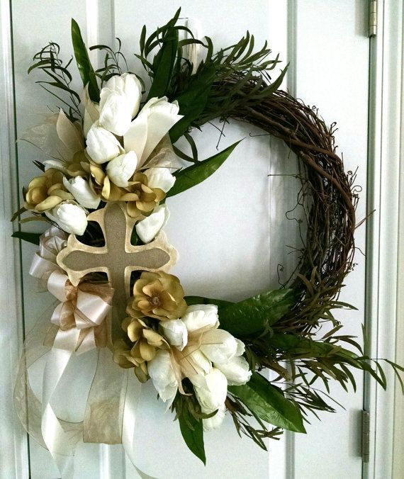 Religious Easter Wreath With Cross By Delightfuldaydesigns
