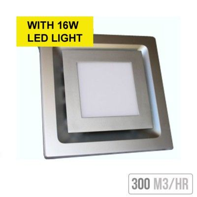 Square Exhaust Fan With 16w Led Light White Exhaust Fan