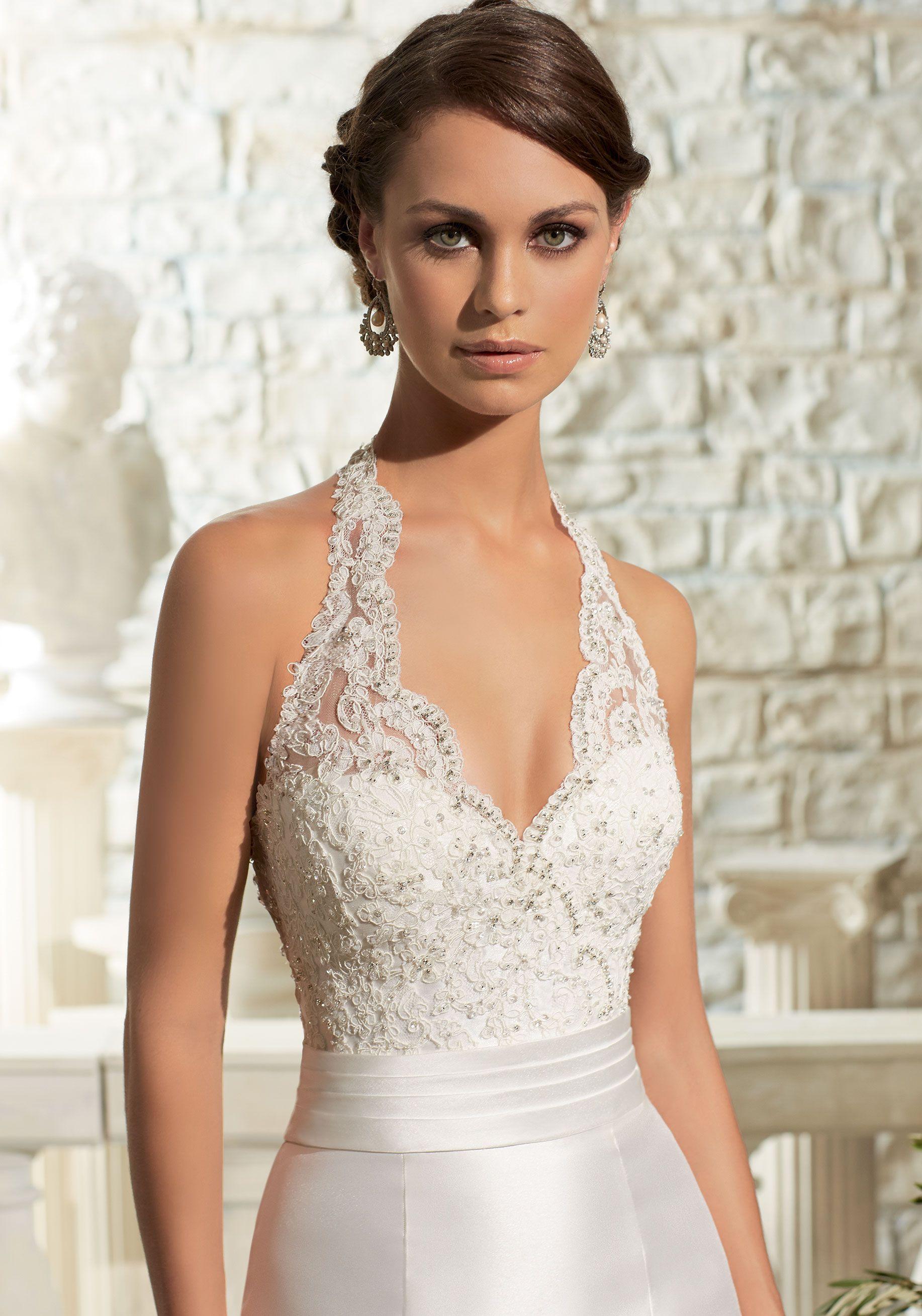 Satin With Crystal Beading On Lace Wedding Dress Morilee Halter Top Wedding Dress Wedding Dresses Satin Halter Wedding Dress [ 2620 x 1834 Pixel ]