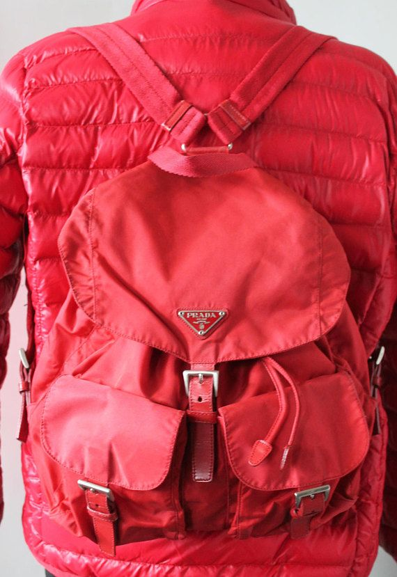 b76627bc Prada Backpack / Prada Nylon Backpack Red / Prada Vintage Backpack ...