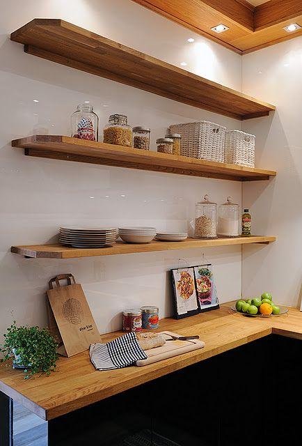 Wooden Shelves Kitchen Simple Kitchen Design Scandinavian