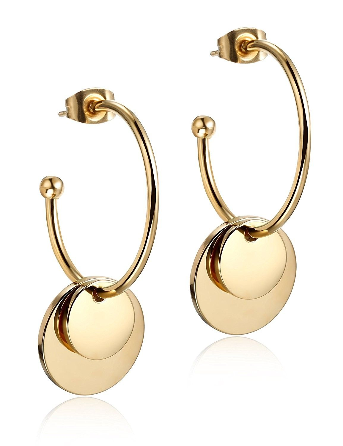 Wistic Gold Hoop Earrings Round Gold Dangle Earrings for Women Girls ... 14405bcbb206