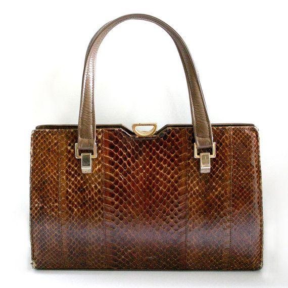 Vintage Ackery London Python Skin 1950s Handbag By Houseofhavisham 75 00