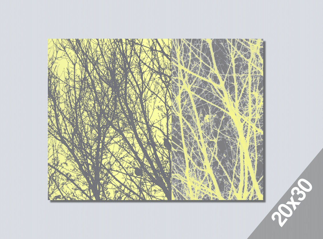 yellow grey modern art large wall art 20x30 poster print grey trees