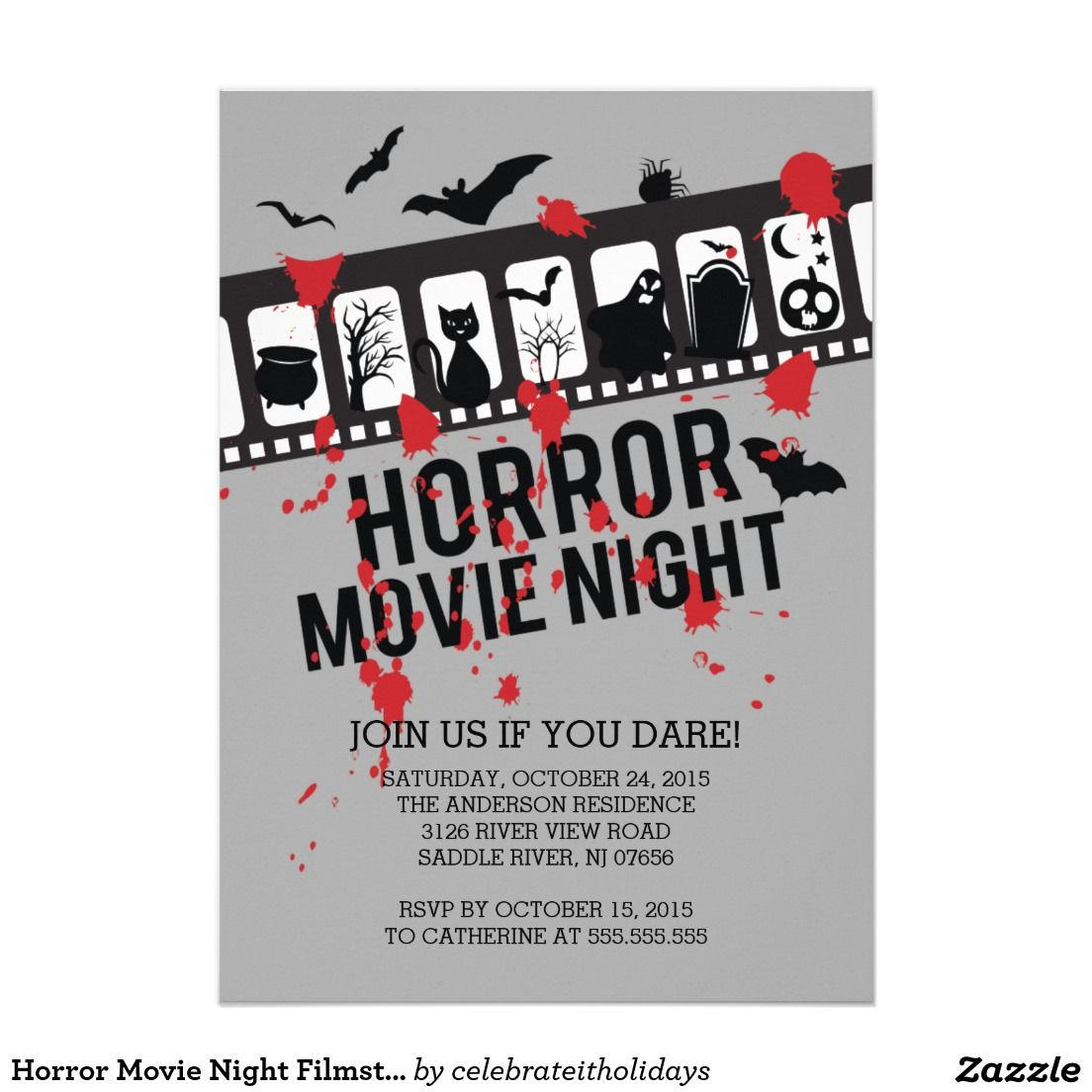 Horror Movie Night Filmstrip Halloween Party 5x7 Paper Invitation Card