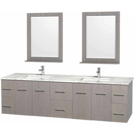 Image On Wyndham Collection Centra inch Double Bathroom Vanity in Gray Oak White Carrera Marble Countertop
