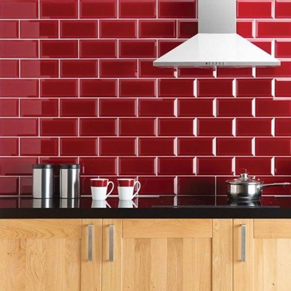 Manhattan High Gloss Bevelled 10x20cm Kitchen And Bathroom Tile In Red
