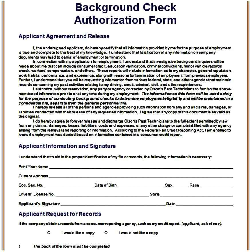 Background Check Forms Template Background Check Form