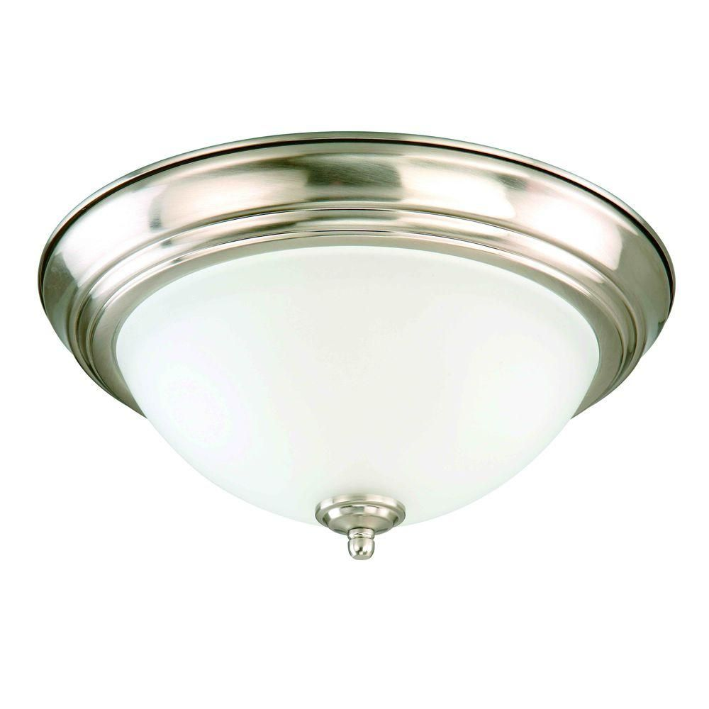 Commercial Electric 13 In 2 Light Brushed Nickel Flush Mount With Frosted Glass Shade 2 Pack Efg8012a Bn The Home Depot Commercial Electric Living Room Lighting Living Room Light Fixtures