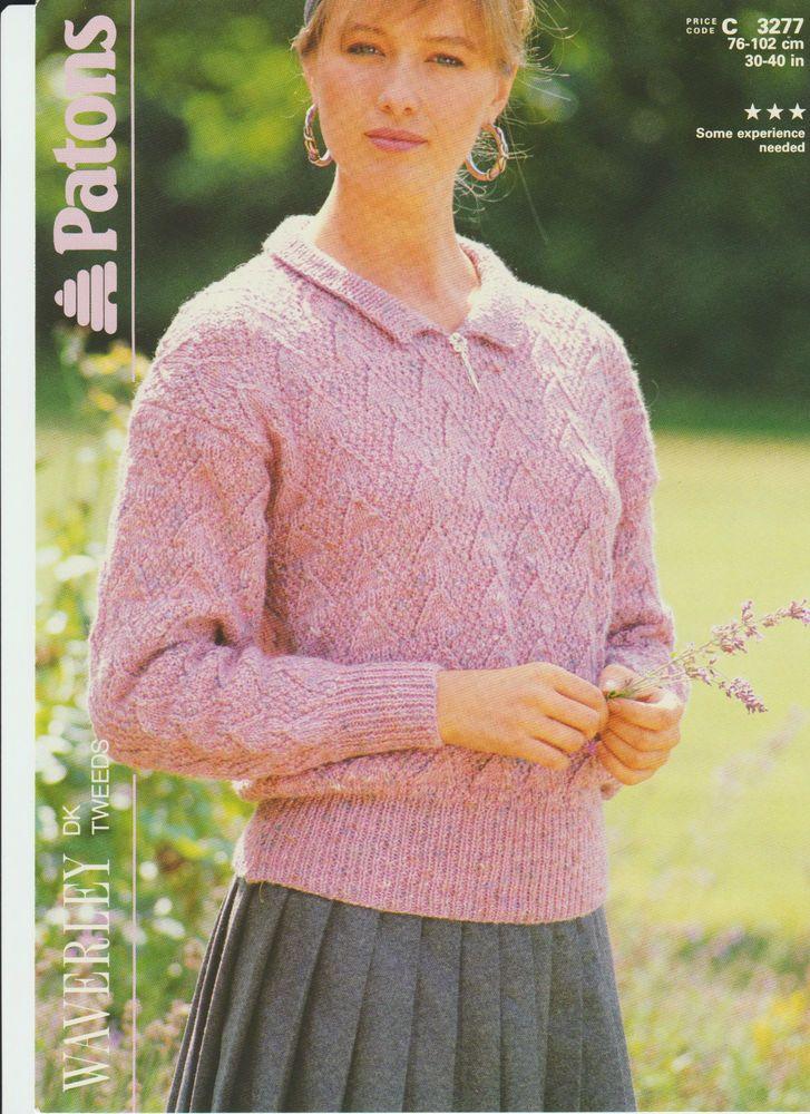 Knitting Pattern - Patons 3277 - Teens/Lady's DK Sweater ...