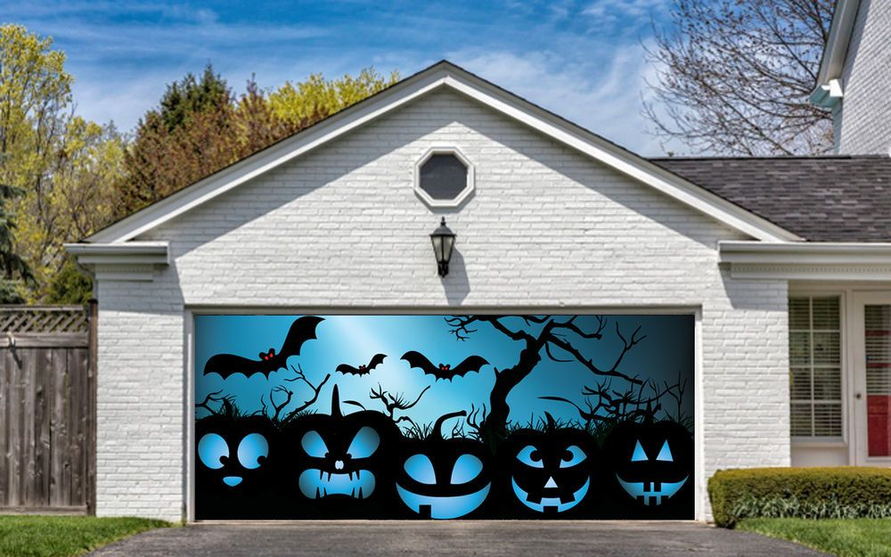 Halloween Garage Door Cover Best Seller Mural Pumpkin Decor For Halloween G23 Halloween Door Decorations Garage Door Halloween Decor Halloween Garage Door